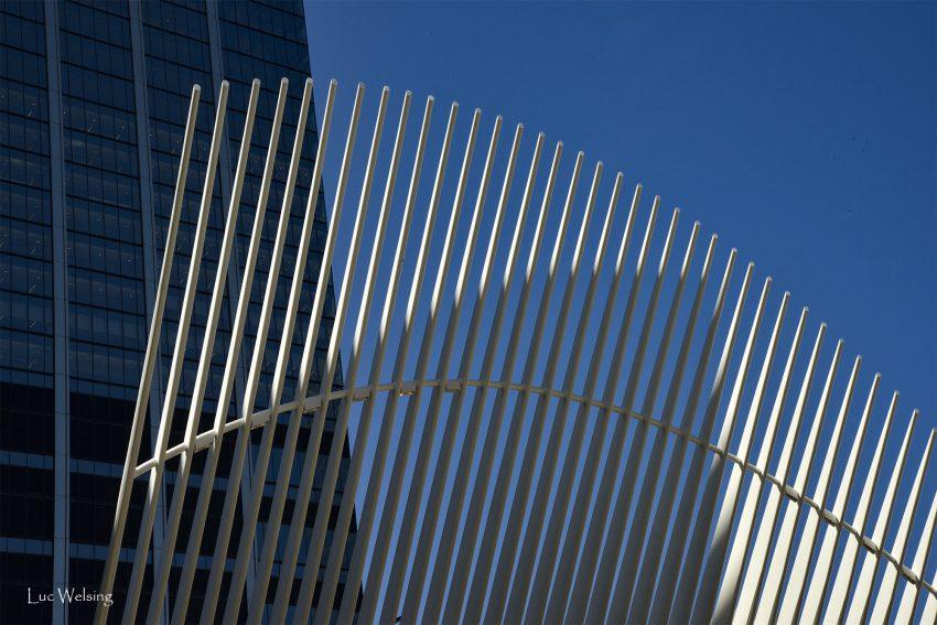 """L'une des deux ailes de la colombes, symbole parlant, érigé à """"Ground zero"""" en souvenir du 11 septembre. Mai 2019"""
